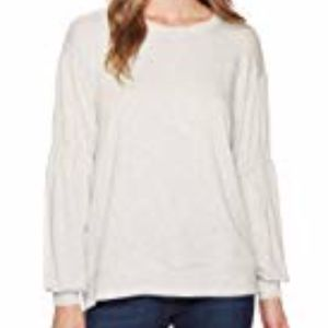 Long Sleeve Open Weave Knit Crew Neck Tee